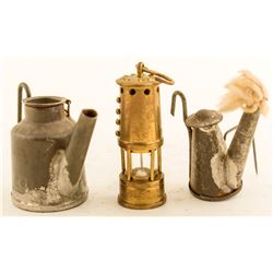 Two Store Sample Miniature Wick Lamps & a Miniature Brass Safety Lamp