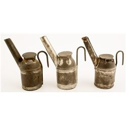 Three Unmarked Teapot Mining Lamps