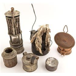 Mine Lighting Lot: Safety Lamp, Carbide Lamp, Blasting Tin & More