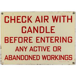 Check Air With Candle Mining Sign