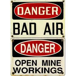 DANGER Mining Signs Pair