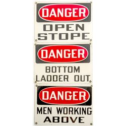 Three DANGER Mining Signs