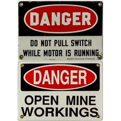 Pair of DANGER Mining Signs
