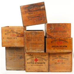 Eight Different DuPont Explosives Wood Boxes