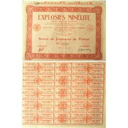 French Explosive Stock Certificate
