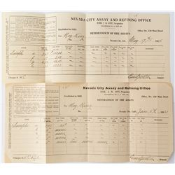 Two Nevada City Assay Sheets by Ott