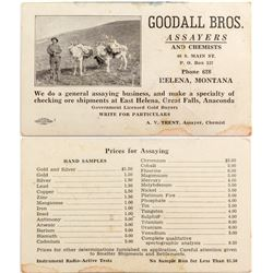 Goodall Brothers Pictorial Assaying Business Card (Helena, Montana)