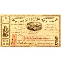 Good Hope Gold and Silver Mining Co. Stock Certificate