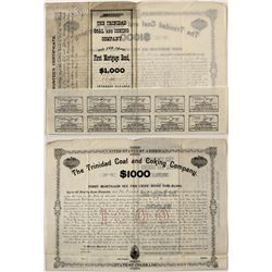 RARE specimen proof mortgage bond of the Trinidad Coal and Coking Company