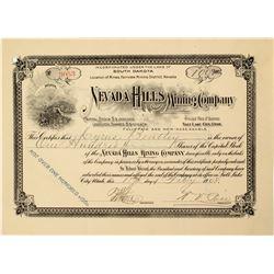 Nevada Hills Mining Company Stock Certificate