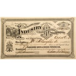 Early Industry Gold & Silver Mining Company Stock Certificate