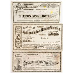 Three Good Comstock Stock Certificates: Gold Hill and Silver City