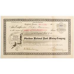 Shoshone National Bank Mining Company Stock Certificate (Goldfield, NV)