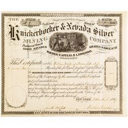 Knickerbocker & Nevada Silver Mining Co. Stock Certificate (1867) (Ione, Nye Co.)