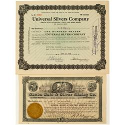 Two Different Unionville, Nevada Mining Stock Certificates