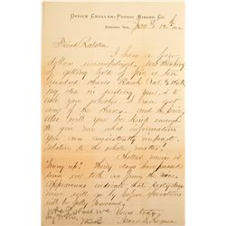 William Ralston, Bank of California Letters (1): Isaac Requa Signed Letter, Chollar-Potosi Mining Co