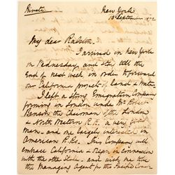 William Ralston, Bank of California Letters (2): 1872 English Engineer's Letter with Plans for Inves