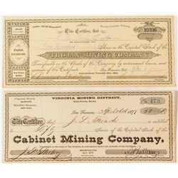 Two Rare Comstock Mining Stock Certificates