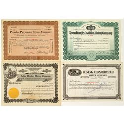 Nevada Mining Stock Certificates: Seven Troughs, Wonder, Luning