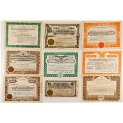 Nine Different Nevada Mining Stock Certificates