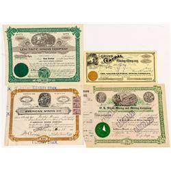 Four Tintic, Utah Mining Stock Certificates