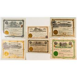 Six Rare Mining Stock Certificates