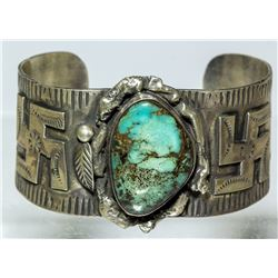 Jerry Roan Silver & Turquoise Cuff
