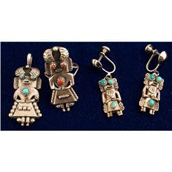 Navajo Ring, Pendant, Earrings--Orville Manygoats
