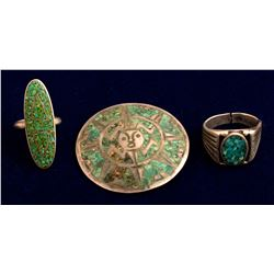 Two silver and Turquoise Rings and Pendant/Pin
