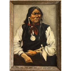 M. Weakley Sitting Bull Portrait Painting