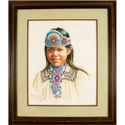 Watercolor of Young Native American Girl