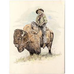 Man on Buffalo by Kay Homan