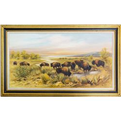 Buffalo Painting by Alice Cardelli Swett