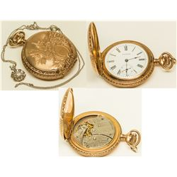 c. 1860s Waltham Gold Watch with Diamond on Chain