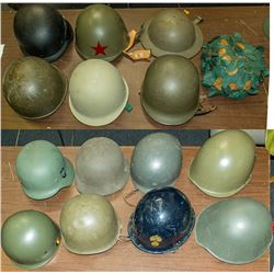 Collection of 14 Military and Military Style Helmets