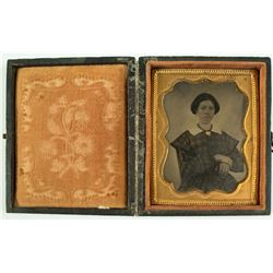 Daguerreotype, 1/9 Plate, Lady with Gold Necklace