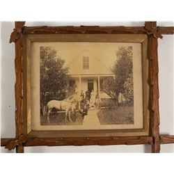 Photograph of W. F. Englebright's Home with Family and Horse (Nevada City)