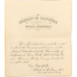 Rare University of California Medical School Grad Announcement with some interesting names