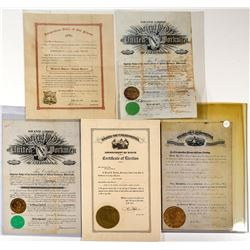 California Large Engraved Certificate Collection