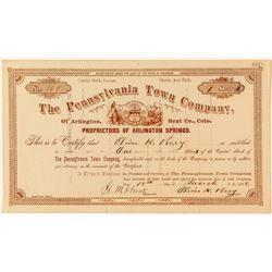 The Pennsylvania Town Company Stock Certificate (Arlington Springs)