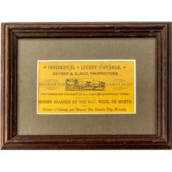Nicely Displayed, Pictorial Occidental Livery Stables Business Card