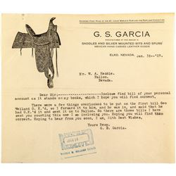 G. S. Garcia Letterhead with Saddle Pictorial