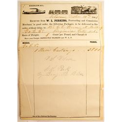 1863 Territorial Transporation Receipt for C. L. Strong of the Gould & Curry Mine