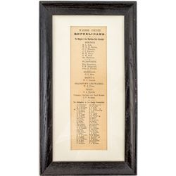 Framed Republican Delegate Broadside (Washoe County, Nevada)
