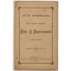 An Act Incorporating the Ocean County Land & Improvement Company (1872)