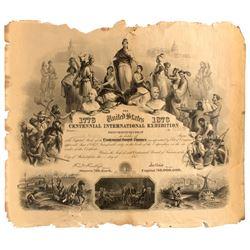 Centennial International Exhibition Stock Certificate