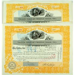 Yellow Gold of Cripple Creek Stock Certificates