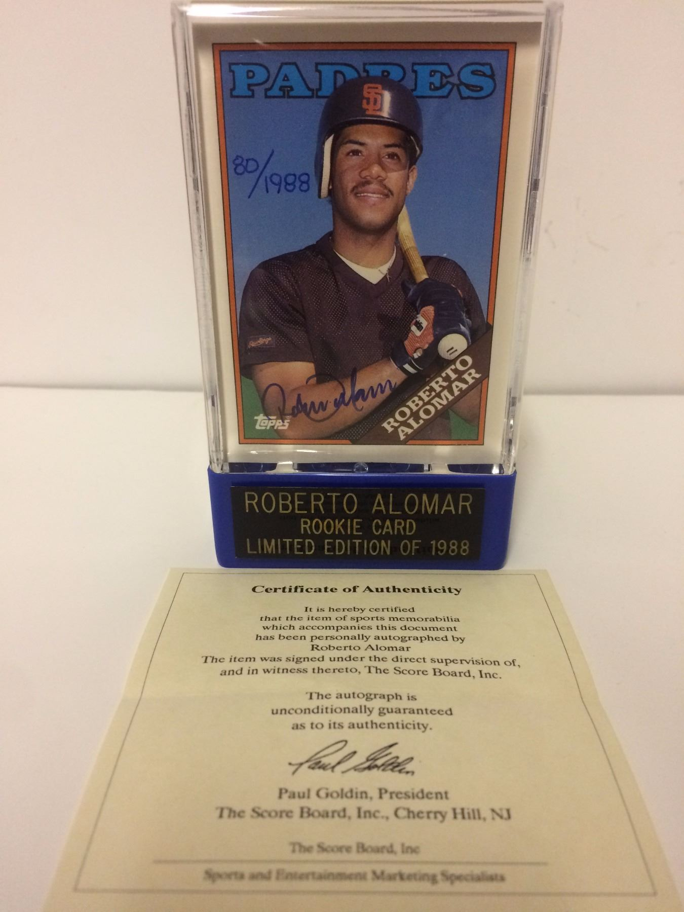Limited Edition Roberto Alomar Signedrookie Baseball Card 801988 W Coa
