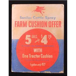 Mobil Oil Sanilac Cattle Spray Advertising Sign