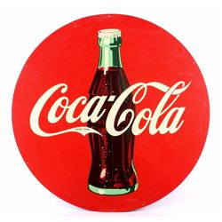 """Coca Cola Large Round Metal Sign w/ Bottle 45.5"""""""